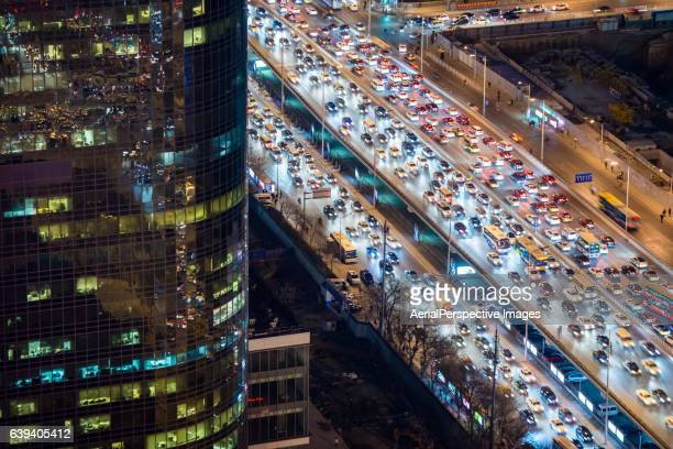 View of Busy Traffic and Traffic Jam at Night, with Rush Hour Traffic, Beijing, China.