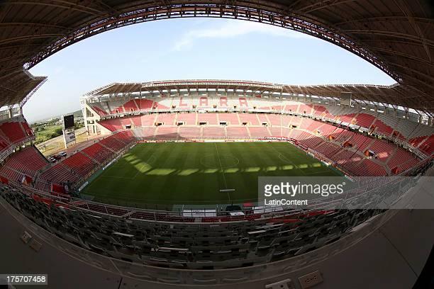 View of Cabudare Metropolitan Stadium before a match between Deportivo Lara and Liga de Loja as part of the Copa Total Sudamericana on August 06,...