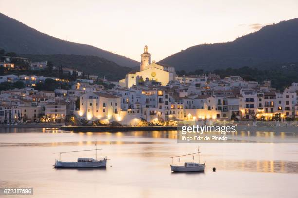 view of cadaqués at night- alt empordà comarca- girona- catalonia- spain - cadaques stock pictures, royalty-free photos & images