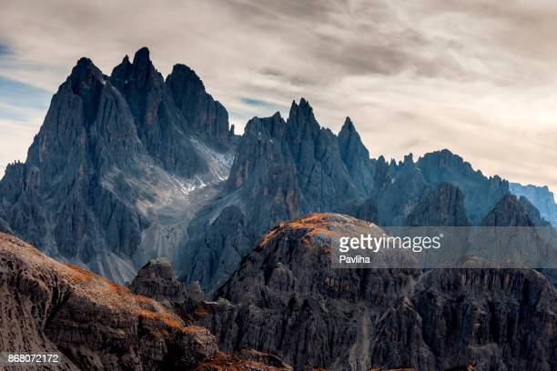 view of cadini di misurina from the saddle, dolomiti, italy - mountain stock pictures, royalty-free photos & images