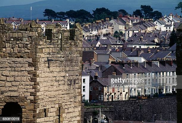 View of Caernarfon from the Castle, Wales, United Kingdom.