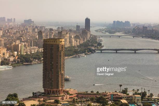 A view of Cairo from above including the Zamalek Sofitel boats on the Nile and the bridges at sunset on September 24 2017 in Cairo Egypt Overview...