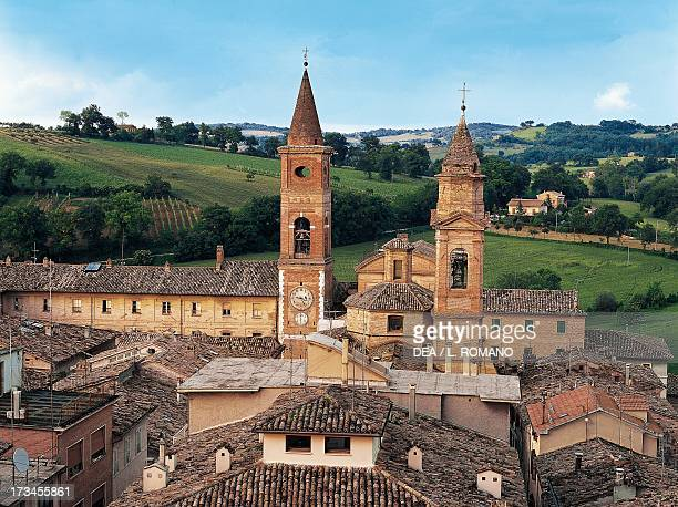 View of Caldarola with Palace of the Pallotta Cardinals , Collegiate church of San Martino and the Sanctuary of the Madonna del Monte , with their...