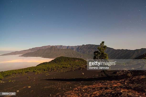 View of 'Caldera de Taburiente' National Park at night (La Palma island. Canaries. Spain)