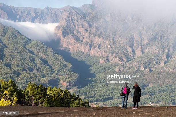 "view of ""caldera de taburiente"" national park - caldera stock pictures, royalty-free photos & images"