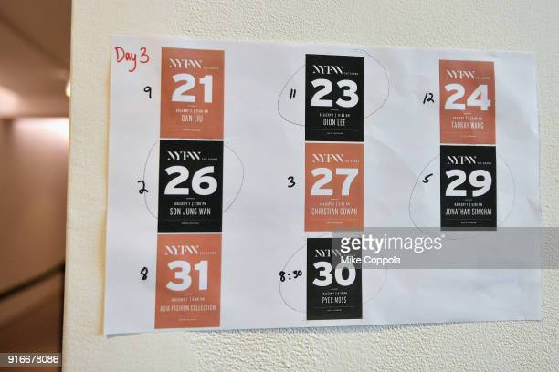 A view of calendar signage during IMG NYFW The Shows at Spring Studios on February 10 2018 in New York City