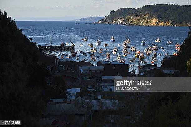 View of 'Caleta Tumbes' cove Concepcion some 519 km south of Santiago on July 1 2009 Chile's 4300 km long coastline is rich in marine products such...