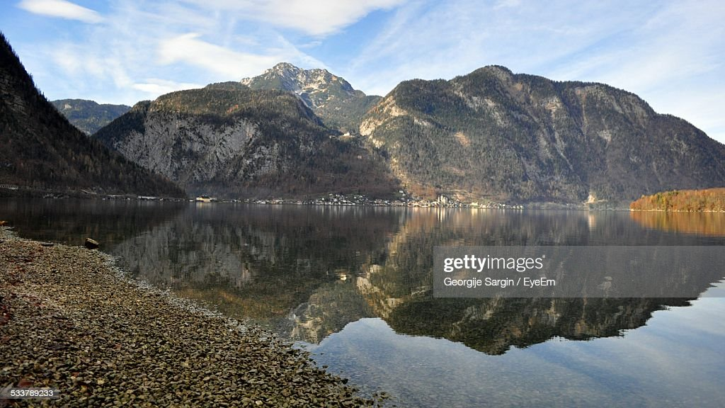 View Of Calm Lake Against Mountains : Foto stock