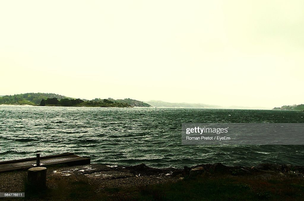 View Of Calm Sea Against Clear Sky : Stock-Foto
