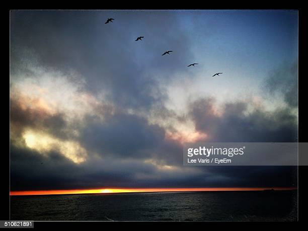 view of calm sea at sunset - hermosa beach stock pictures, royalty-free photos & images
