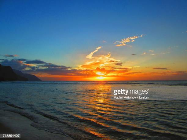 view of calm sea at sunset - antonov stock pictures, royalty-free photos & images