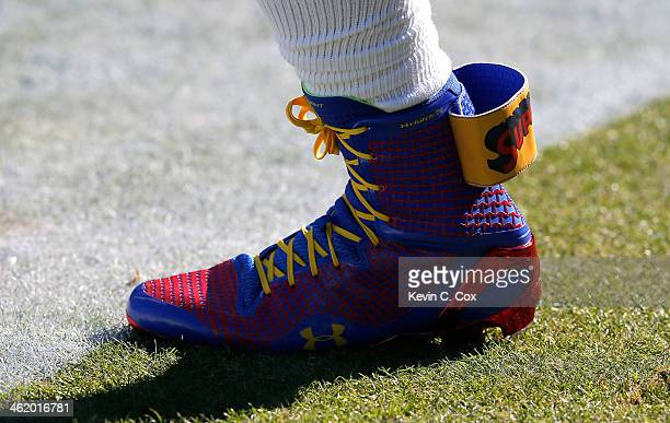 61555fe8419 A view of Cam Newton of the Carolina Panthers  shoes saying  SuperCam   during. Divisional Playoffs - San Francisco ...