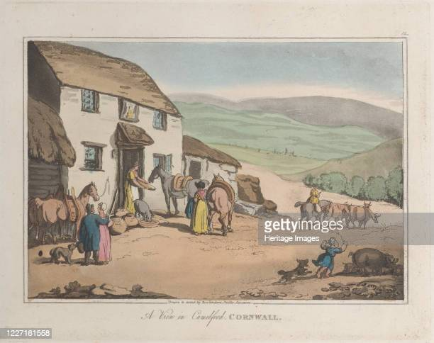 "View of Camelford, Cornwall, from ""Sketches from Nature"", 1822. Artist Thomas Rowlandson, Joseph Constantine Stadler."