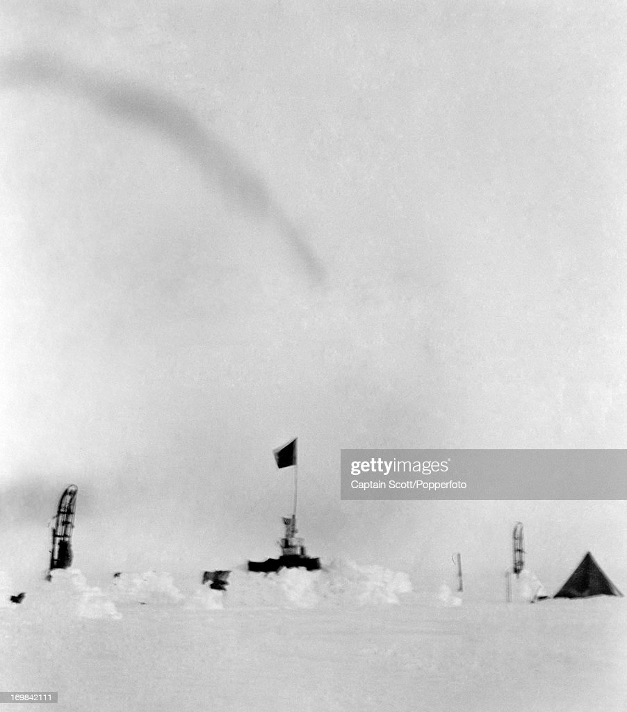 A view of Camp 12, One Ton Depot, on the Great Ice Barrier photographed during the last, tragic voyage to Antarctica by Captain Robert Falcon Scott on 16th November 1911. Scott was tutored by Herbert Ponting, the renowned photographer who was the camera artist to the expedition, which enabled Scott to take his own memorable pictures before perishing on his return from the South Pole on or after 29th March 1912.