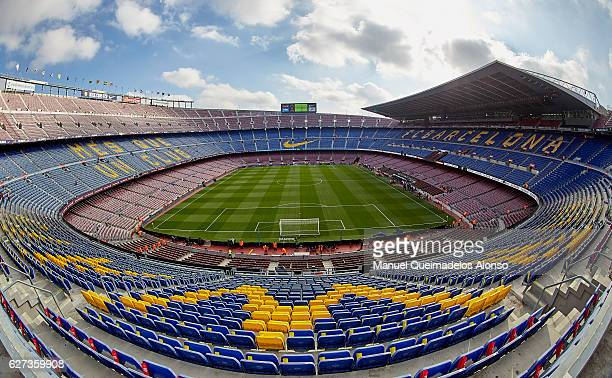 A view of Camp Nou Stadium home of FC Barcelona before the La Liga match between FC Barcelona and Real Madrid CF at Camp Nou stadium on December 03...