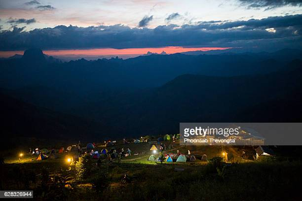 A view of camping area at strawberry farm from hill in Phoukhoun, Luang Prabang, Laos.