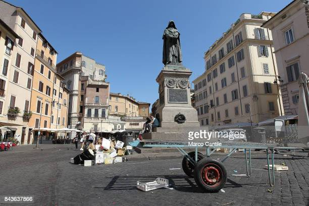A view of Campo de' Fiori square with the famous statue of Giordano Bruno where the philosopher was burned by the Inquisition