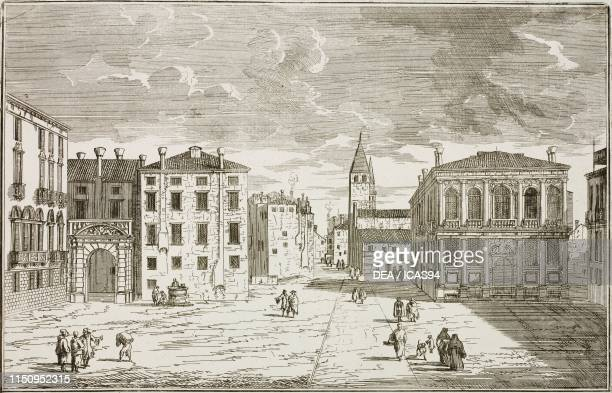 View of Campo Santo Stefano with Palazzo Morosini and Palazzo Loredano Venice Italy drawing and engraving by Luca Carlevarjis from Le fabbriche e...