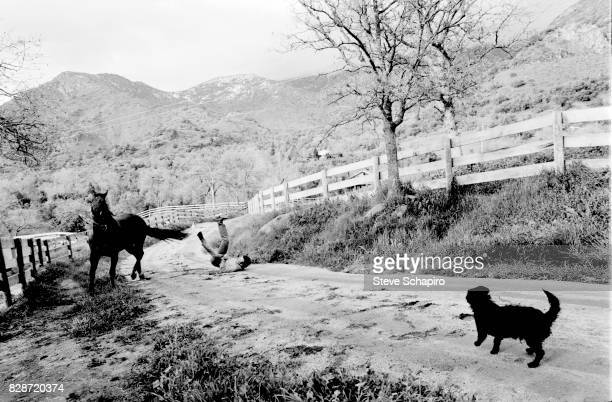 View of Canadian actor William Shatner as he falls from his horse while riding at his ranch Three Rivers California 1982