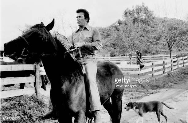 View of Canadian actor William Shatner as he rides a horse at his ranch Three Rivers California 1982