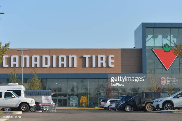 View of Canadian Tire logo and shop in South Edmonton Common, a retail power centre located in Edmonton, Alberta. On Tuesday, September 11 in...