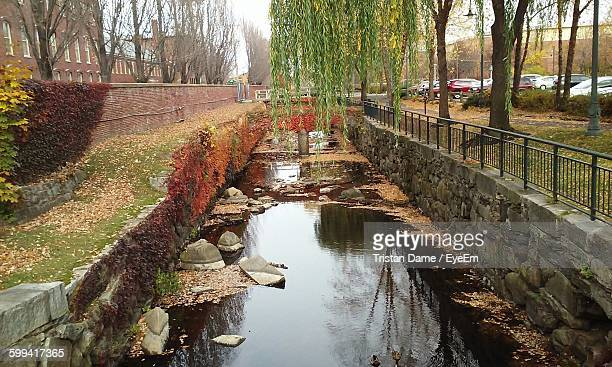 view of canal along trees - lowell massachusetts stock pictures, royalty-free photos & images