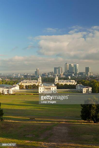 A view of Canary Wharf from Greenwich Park and the Royal Obervatory