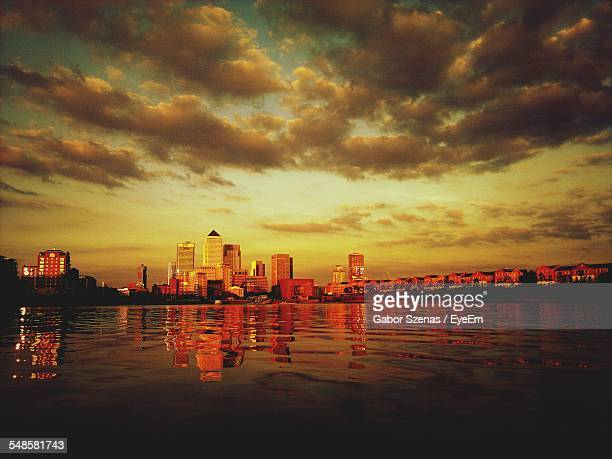 View Of Canary Wharf Over Thames River, London, England, Uk