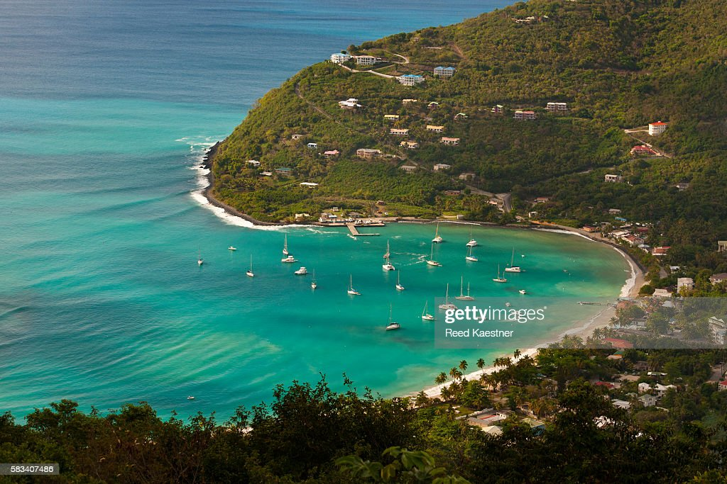 View of Cane Garden Bay, Tortola, British Virgin Islands from up on a hill looking east. : Stock Photo