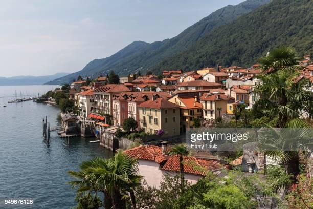 view of cannero riviera and lago maggiore, verbano-cusio-ossola province, piedmont region, italy - province of verbano cusio ossola stock pictures, royalty-free photos & images
