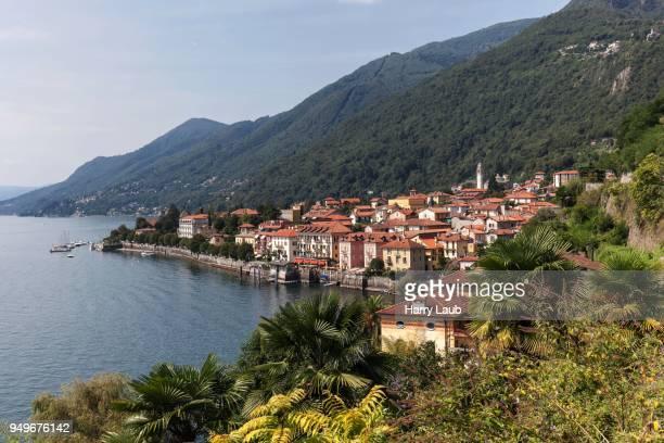 View of Cannero Riviera and Lago Maggiore, Verbano-Cusio-Ossola Province, Piedmont Region, Italy