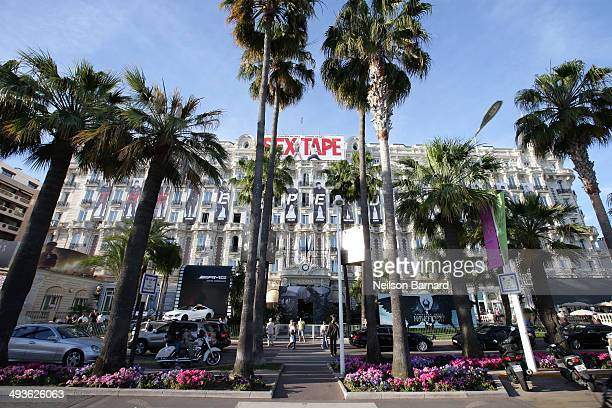 A view of Cannes beachfront and the Carlton hotel during the 67th Annual Cannes Film Festival on May 24 2014 in Cannes France