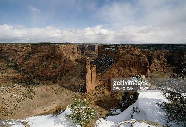 View of Canyon de Chelly Monument, Spider Rock in the centre, Navajo Indian Reservation, Arizona, United States of America.