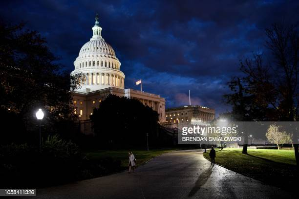 A view of Capitol Hill while voters across the United States participate in midterm elections November 6 2018 in Washington DC Americans vote Tuesday...