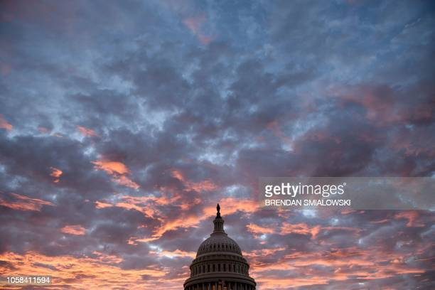 TOPSHOT A view of Capitol Hill while voters across the United States participate in midterm elections November 6 2018 in Washington DC Americans vote...