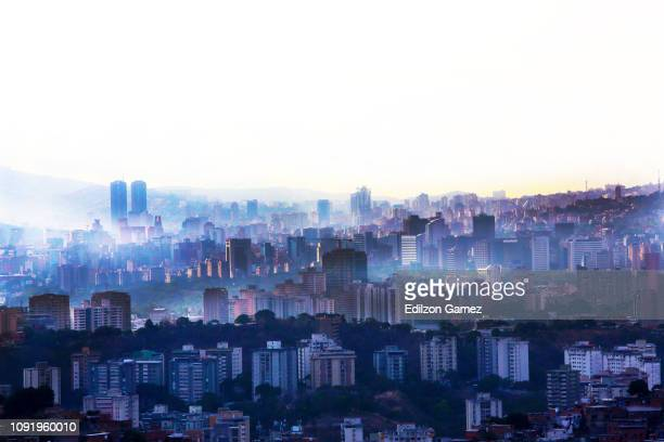 View of Caracas on January 31, 2019 in Caracas, Venezuela. Today, European Parliament recognized opposition leader Juan Guaid as interim president...