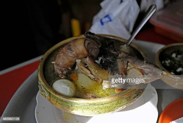 View of Cardan a soup made with phallus and testicles of bulls in La Paz on January 18 2014 For Bolivian people this soup has aphrodisiac qualities...