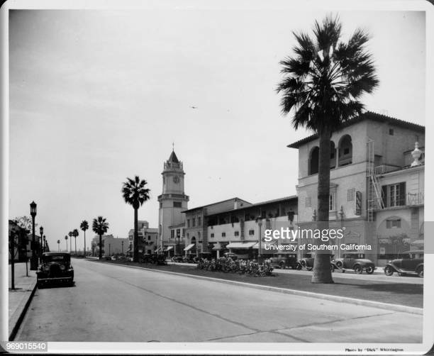 View of car-lined street in Westwood Village, Los Angeles, California, early to mid twentieth century.