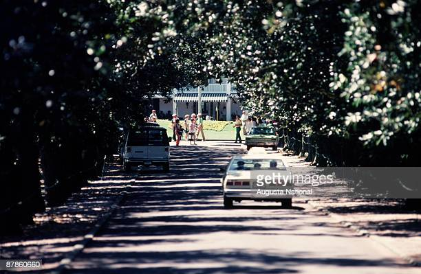 View of cars on Magnolia Lane in sight of the Clubhouse during the 1979 Masters Tournament at Augusta National Golf Club on April 14th 1979 in...