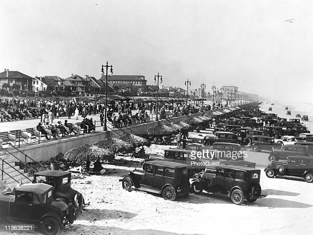 View of cars parks on the beach during the Winter Festival Daytona Beach Florida 1920s