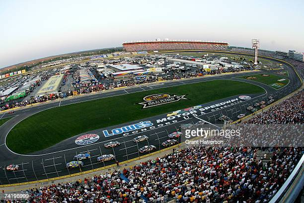 A view of cars racing during the NASCAR Nextel Open on May 19 2007 at Lowe's Motor Speedway in Concord North Carolina