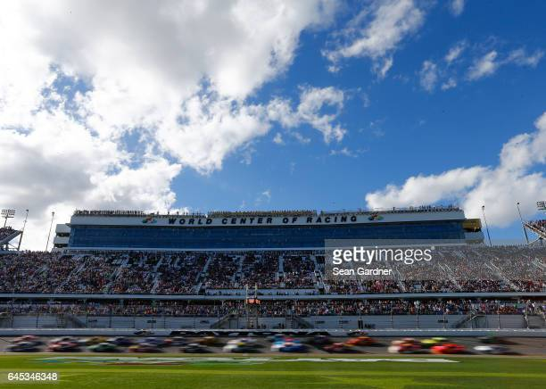 A view of cars racing during the NASCAR XFINITY Series PowerShares QQQ 300 at Daytona International Speedway on February 25 2017 in Daytona Beach...