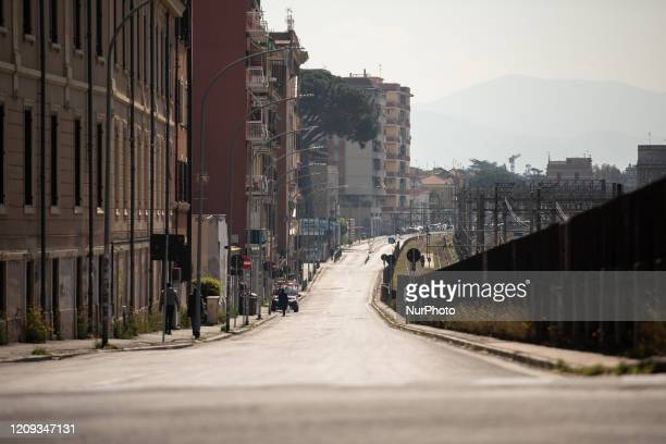 A view of Casilina street completely deserted on April 7 2020 in RomeThe Italian government has issued the nationwide lockdown measures to help stop...
