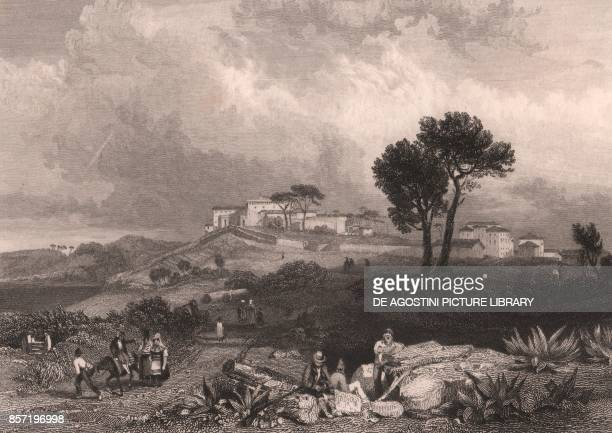 View of Castel Gandolfo Lazio Italy steel engraving from a drawing by James Duffield Harding 142x10 cm published by Jennings London