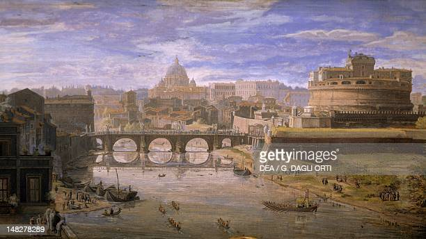 View of Castel Sant'Angelo in Rome by Gaspar van Wittel tempera on parchment cm 23x44 Detail Rome Palazzo Dei Conservatori Pinacoteca Capitolina