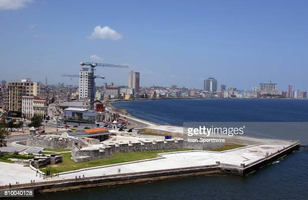 A view of Castillo San Salvador de la Punta with the Malecón and the skyline in the background on July 01 in Havana Cuba