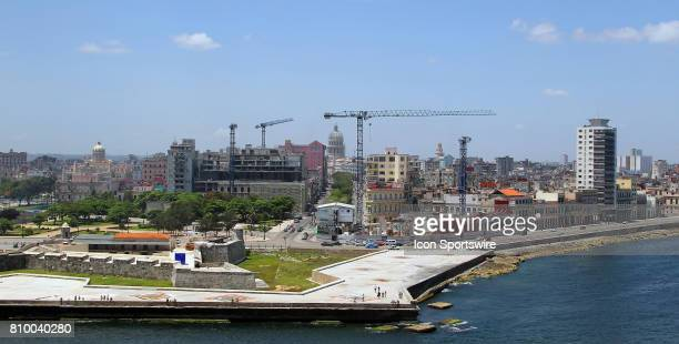 A view of Castillo San Salvador de la Punta with the Malecon and the skyline led by the tall dome of the El Capitolio in the background on July 01 in...