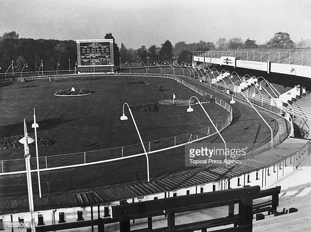A view of Catford Stadium and its dogracing track at Catford in south London 25th October 1946