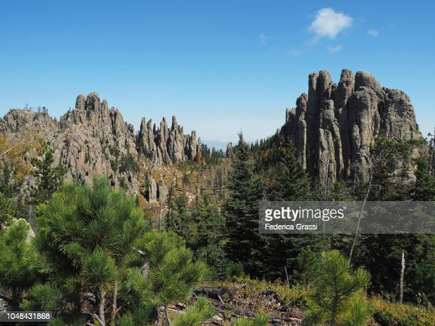 view of cathedral spires from little devils tower, south dakota - black hills stock pictures, royalty-free photos & images
