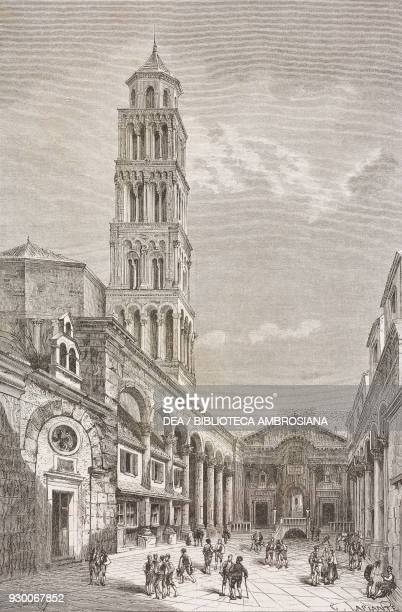 View of Cathedral square with the cathedral bell tower and peristyle of the ancient Diocletian's palace Split Croatia drawing by A Deroy from a...